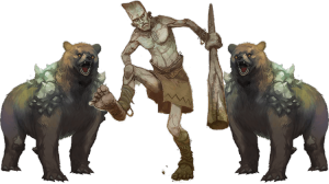 Stone Giant and 2 Dire Bears